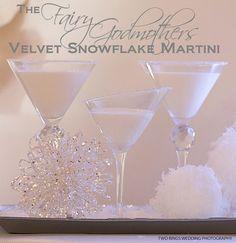 Fairy Godmother's Velvet Snowflake Martini 2 parts vanilla vodka 1 part white creme de cacao 1 parts white chocolate Irish cream Garnish with white chocolate girls or cake sparkles Party Drinks, Cocktail Drinks, Fun Drinks, Yummy Drinks, Cocktail Recipes, Alcoholic Drinks, White Cocktails, Drink Recipes, Cocktail Ideas