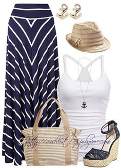I enjoy the racer back tank and the skirt. The hat could switch up with a floppy wicker beach hat. But love the Lou he style.