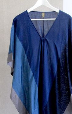 color block blues sari caftan