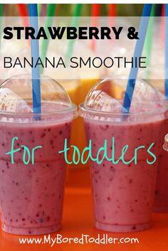 strawberry banana smoothie recipe for toddlers www.MyBoredToddler.com