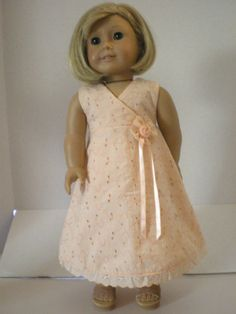 American Girl Doll Clothes  Eyelet Wrap Dress by fashioned4you, $16.00