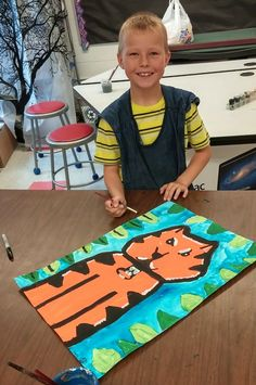 """Second grade kids created tiger masterpieces like Henri Rousseau!        We read the story """"The Fantastic Jungles of Henri Rousseau""""  and le..."""