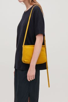 Detailed image of Cos textured leather shoulder bag in yellow Yellow Shoulder Bags, Over The Shoulder Bags, Small Shoulder Bag, Leather Shoulder Bag, Leather Bag, Black Leather, Bags 2017, Small Bags, Leather Craft