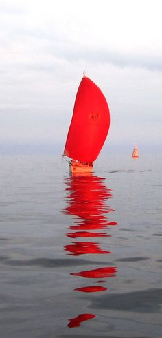 red spinnaker reflection