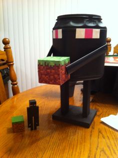 Minecraft Enderman valentine box- made from plastic coffee container