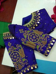 Hd for blouse Pattu Saree Blouse Designs, Blouse Designs Silk, Designer Blouse Patterns, Bridal Blouse Designs, Mirror Work Blouse, Maggam Work Designs, Stylish Blouse Design, Sumo, Marie
