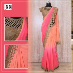 Designer Saree in Plain Flowy Fabrics adding Glamour to your Look. Shaded Saree in Pink & Pink with Handwork Cutwork Border For Instant Price and Queries Whatsapp - Simple Pakistani Dresses, Simple Sarees, Trendy Sarees, Stylish Sarees, Fancy Sarees, Party Wear Sarees, Indian Dresses, Indian Outfits, Chiffon Saree