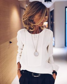Making an investment in a nice blouse with navy or black trousers this Winter with a belt and matching 30 statement necklaces is a perfect work or meeting outfit. Simple and chic. Fashion Mode, Work Fashion, Womens Fashion, Cheap Fashion, White Fashion, Luxury Fashion, 50 Fashion, Fashion Brand, Fashion Online