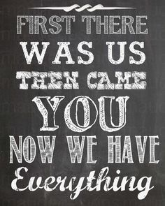 Chalkboard Baby Nursery Art Decor. First there was us, then came you, now we have everything quote