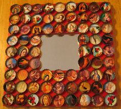 Bottlecap covered mirror with pictures of saints in them. I love it this way, but other kinds of pictures could be used, or just the bottlecaps glued on the other way.