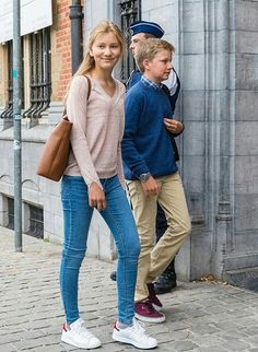 On September 1, 2016, Queen Mathilde of Belgium took her children, that is, Crown Princess Elisabeth, Princess Eleonore and Prince Gabriel to St John Berchmans College in Brussels on the first school day.
