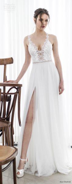 asaf dadush 2017 bridal sleeveless embroidered strap v neck heavily embellished bodice high slit romantic sexy soft a  line wedding dress sweep train (09) lv -- Asaf Dadush 2017 Wedding Dresses