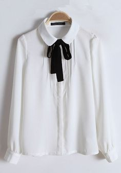 White Plain Round Neck Bow Cotton Blend Blouse under randiga byxdressen