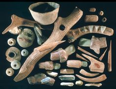 Colorful Neolithic tools from lake sites in Switzerland, c. 10,000 BCE