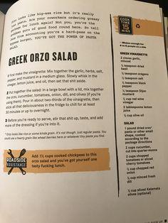 Greek orzo salad Vegan Vegetarian, Vegetarian Recipes, Vegan Meals, Vegan Food, Greek Orzo Salad, Pasta Salad, Kitchen Recipes, Cooking Recipes, Epic Meal Time