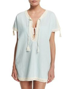TBV20 Tory Burch Nerano Crocheted Linen Tunic Coverup with Tassels