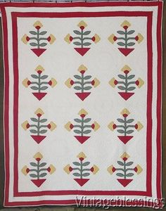 Wonderful ANTIQUE c1880 Penn Dutch Applique Tulip QUILT Early One! Never Used www.Vintageblessings.com