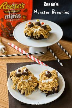 Reese's Monster Brownies {Tastes of Lizzy T} http://www.tastesoflizzyt.com/2013/10/04/reeses-monster-brownies/