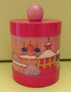 Retro Gift USSR Storage Pot 1950 Soviet Decorative Wooden Pot