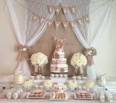 Burlap and lace baby shower sweet bar with diaper cakes and floral arrangements. - Burlap and lace baby shower sweet bar with diaper cakes and floral arrangements. Source by Best Kadın Boho Baby Shower, Baby Shower Floral, Unisex Baby Shower, Gender Neutral Baby Shower, Baby Boy Shower, Baby Shower Parties, Baby Shower Themes, Baby Shower Decorations Neutral, Shower Party