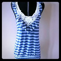 !!!HP!!! Racerback tank Blue and gray, crocheted neck, racerback Gracie Tops Tank Tops