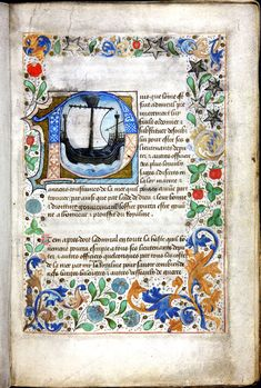 Illustrated page featuring ship and illuminated border from Black Book of the Admiralty, a manual predating Henry VIII's reign by about 60 years. The book was an illuminated manual of instruction for the Lord High Admiral and contains details on cases in the High Court of Admiralty, as well as codes of maritime law. It would certainly have been consulted by the navy during Henry's reign.