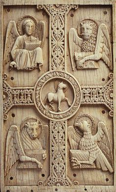 The Four Evangelists of the Four Gospels; Early Christian typology of Air, Wind, Fire, Earth (and Space). Early Christian, Christian Art, Ancient Symbols Of Power, Four Gospels, Christian Symbols, Biblical Art, Religion, Roman Art, Medieval Art