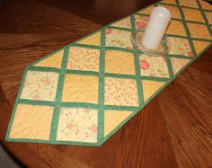 Quilted Table Runner Christmas Hexagon Table by QuiltSewPieceful