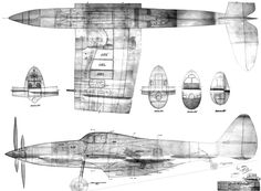 Republic XP-69 15-Sept-1941 inboard drawing