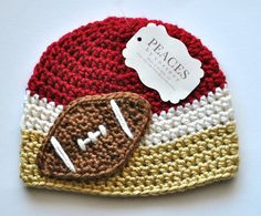 Dark Red White & Gold FootballFootball Beanie Hat for Baby from Peaces by Cortney at www.etsy.com/shop/peacesbycortney