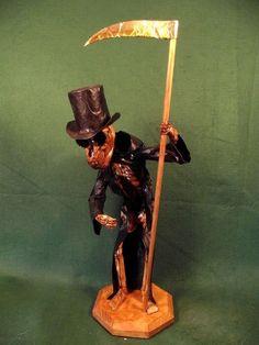DEATH : Victorian Goth Steampunk Skeleton Day of Dead Vintage Style Voodoo Doll