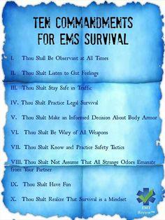 10 Commandments for EMS survival