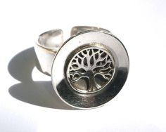 Tree of Life Ring Sterling Silver Ring Domed Ring Tree of Mens Silver Necklace, Silver Necklaces, Silver Earrings, Nose Earrings, Tree Of Life Ring, Stainless Steel Earrings, Unique Earrings, Jewelry Stores, Gifts For Women