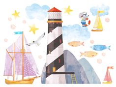 Lighthouse – the symbol of hope. For every ship, for every sailor. Fabric wall decal for kids.