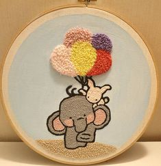 The Elephant and Me – punch needle embroidery mixed media wall art! Mixed media – punch needle embroidered in cotton with acrylic painted background. Fun decor for a nursery kids room Hand Embroidery Art, Christmas Embroidery Patterns, Simple Embroidery, Embroidery Stitches, Embroidery Designs, Cute Quotes For Kids, Cute Kids Photos, Cute Kids Photography, Punch Needle Patterns