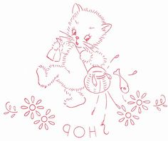 Embroidery Cards, Embroidery Transfers, Hand Embroidery Designs, Vintage Embroidery, Cross Stitch Embroidery, Embroidery Patterns, Machine Embroidery, Stitching On Paper, Cat Fabric