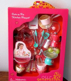 """1 frying pan with lid. Up for sale is this really ADORABLE Cute as Pie Kitchen Playset. 1 dish rag. Fits American girl, Battat, Our Generation, etc. 18"""" dolls. Be sure to add me to your favorites list ! 