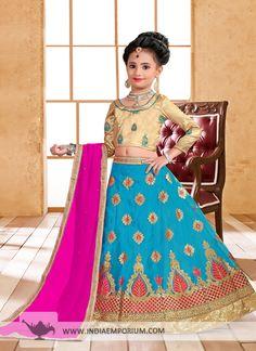 Cute Turquoise Blue & #Dark #Pink #Embroidered #Kids #Lehenga Choli
