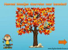 Digibordles herfst: hoeveel blaadjes dwarrelen naar beneden? www.digibordonderbouw.nl
