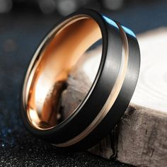 Tusen Jewelry Tungsten Ring Rose Gold Inlay Groove Brushed Flat Cut Edge 8mm Men's Wedding Band