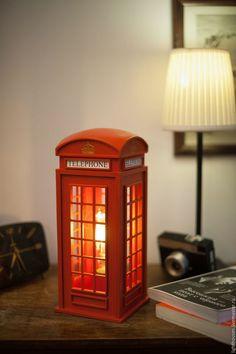 Освещение ручной работы. Ярмарка Мастеров - ручная работа. Купить Английская  телефонная будка. Светильник-ночник для дома и интерьера. Handmade.