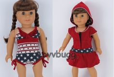 """RWB Swim Suit w Cover-Up Clothes for 18"""" American Girl Doll Widest Selection"""