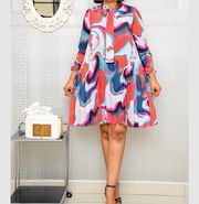 Foreverfad 2020 spring and autumn new printed bow knot A-line skirt long-sleeved pleated dress Color:White+Red Short Long Dresses, Dresses For Sale, Summer Dresses, Latest African Fashion Dresses, Mothers Dresses, New Print, Pencil Dress, A Line Skirts, Plus Size