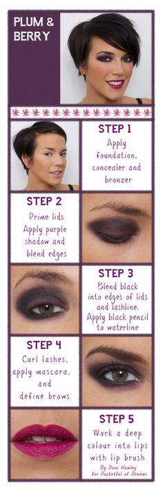 The berry and plum #makeup look #tutorial from  #EvaHairEextensions seem great!