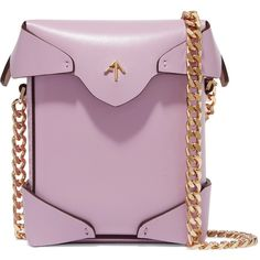 Manu Atelier Pristine micro leather shoulder bag ($420) ❤ liked on Polyvore featuring bags, handbags, shoulder bags, bolsas, borse, purple, crossbody purses, leather purses, leather handbags and purple cross body purse