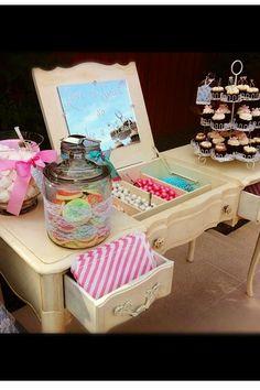 Vanity bridal shower candy station