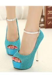 Chaussures à talon haut pailletées avec lanière serre-cheville
