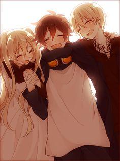 Aww so adorable_Kekkai sensen Anime Sisters, Anime Siblings, Anime Child, Cool Anime Girl, Cute Anime Pics, Cute Anime Couples, Boy And Girl Friendship, Anime Friendship, Friend Anime