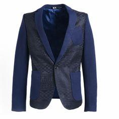 Men Navy Blue Slim Fit Casual Punk Rock Hipster Business Suit Jacket SKU-11401426