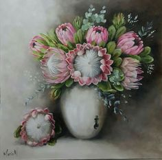 Protea Art, Protea Flower, Farm Paintings, Landscape Paintings, South African Art, Simple Acrylic Paintings, Tattoo Sleeve Designs, Decoupage Paper, Chalkboard Art